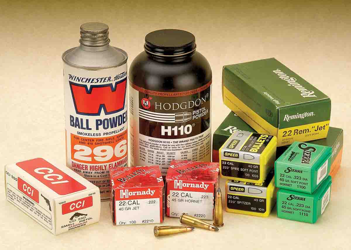 To prepare for shooting, all components such as powder, bullets, cases and primers are readily available to load the .22 Remington Jet.