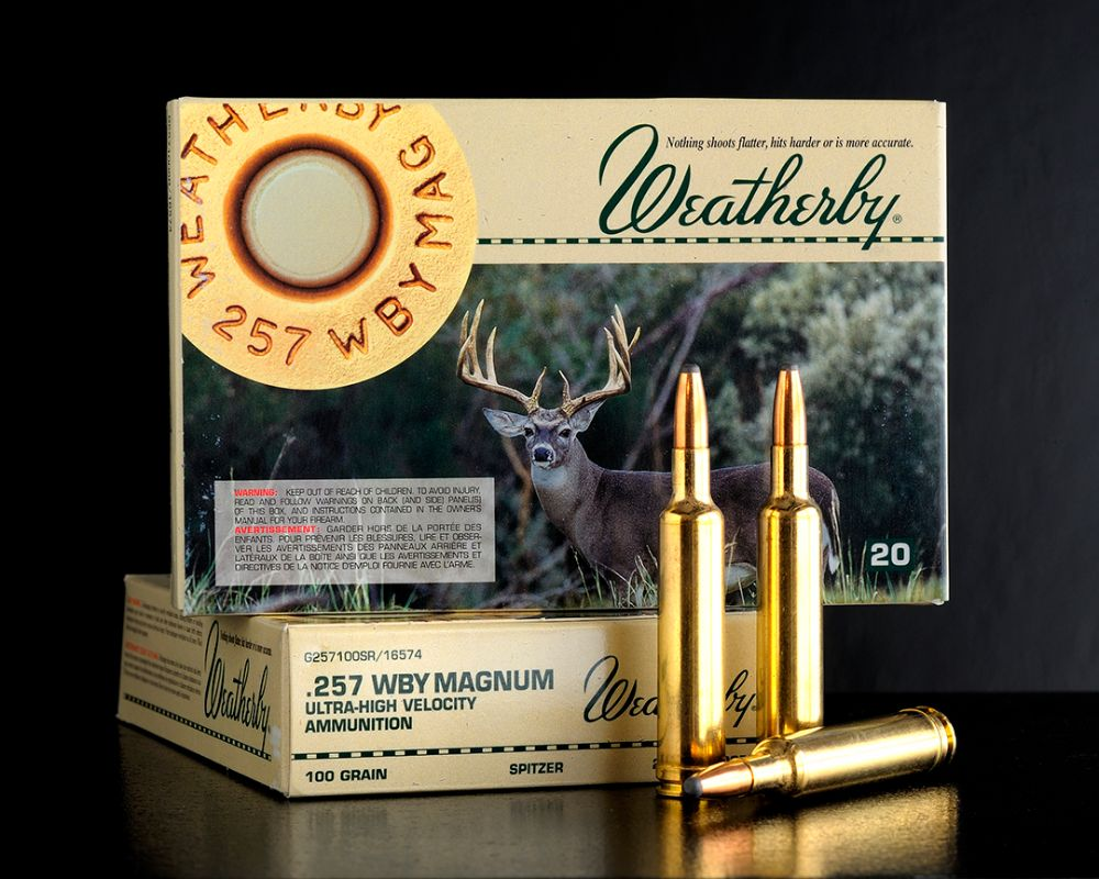 The .257 Weatherby with the cartridge and loaded ammunition. Considered the king of the .25 calibers, it is easy to load and shoot.
