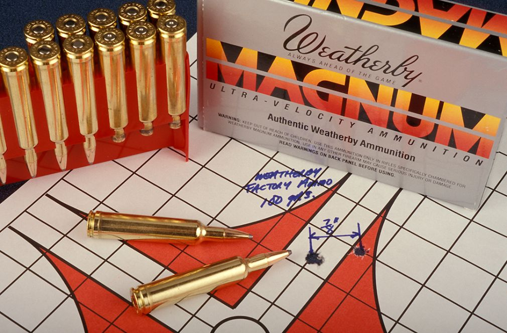 With Weatherby 100-grain factory ammunition, this .875-inch group was the result at 100 yards.