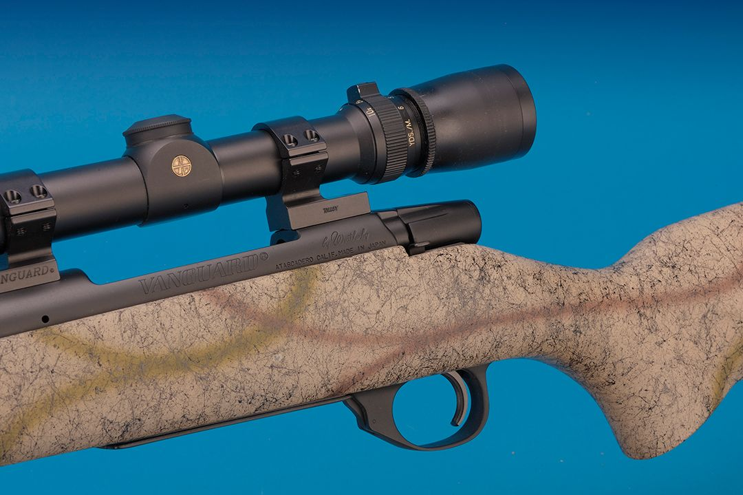On the left side, the bolt release is right next to the bolt shroud. Notice the clean, modern look of the rifle – thanks to the Weatherby Custom Shop.