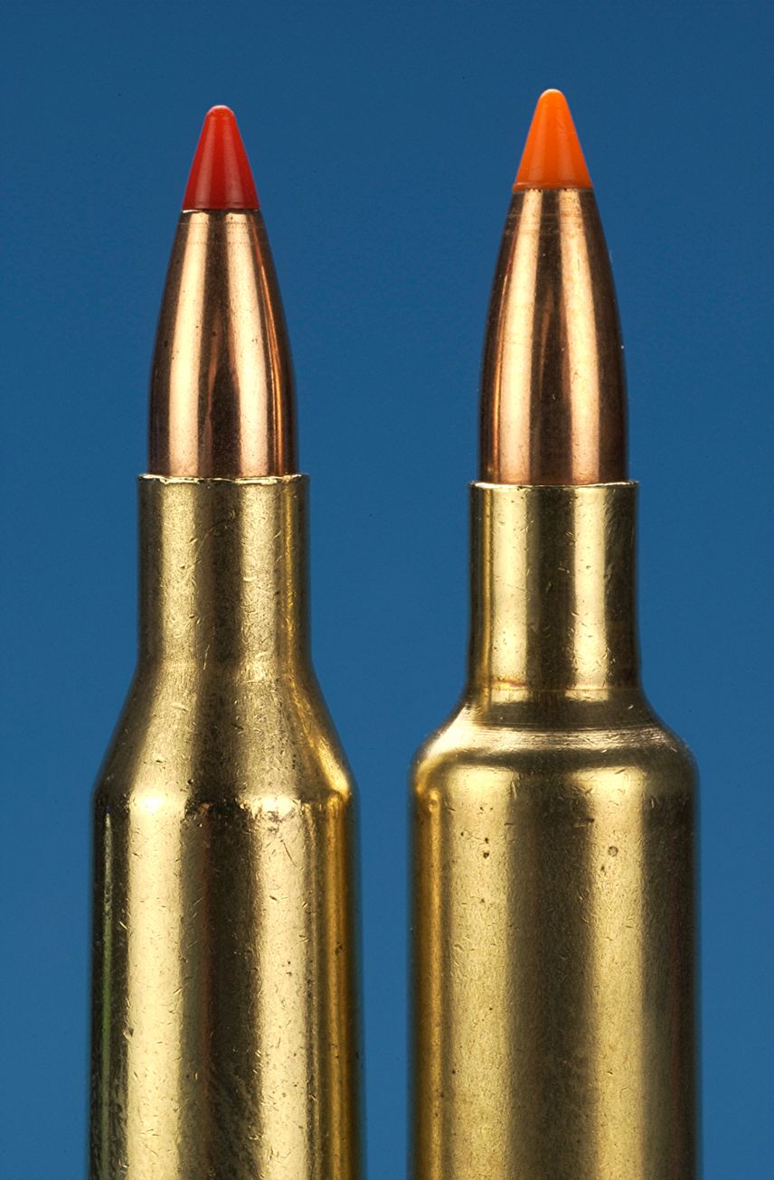 Shown on the left is the .25/06 Remington. On the right is the .257 Weatherby. Note the double radius shoulder on the latter.