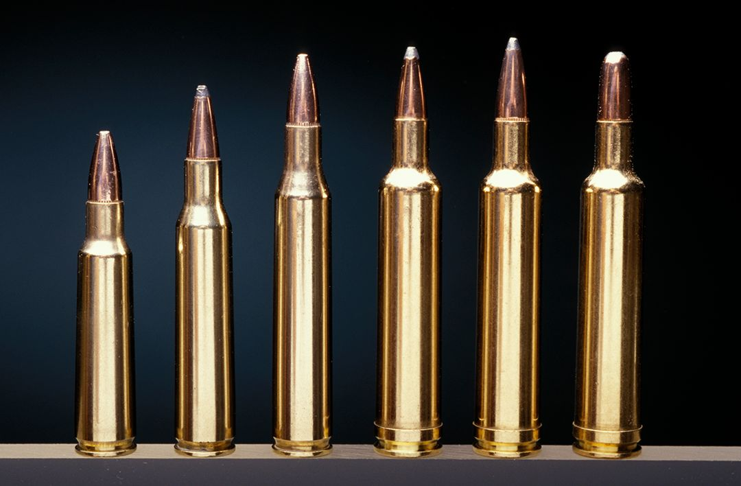 A showing of the more popular .25 caliber ammunition includes (left to right) the .250 Savage, .257 Roberts, .25/06 Remington and the three factory offerings for the .257 Weatherby to include the 87, 100 and 117-grain bullets.