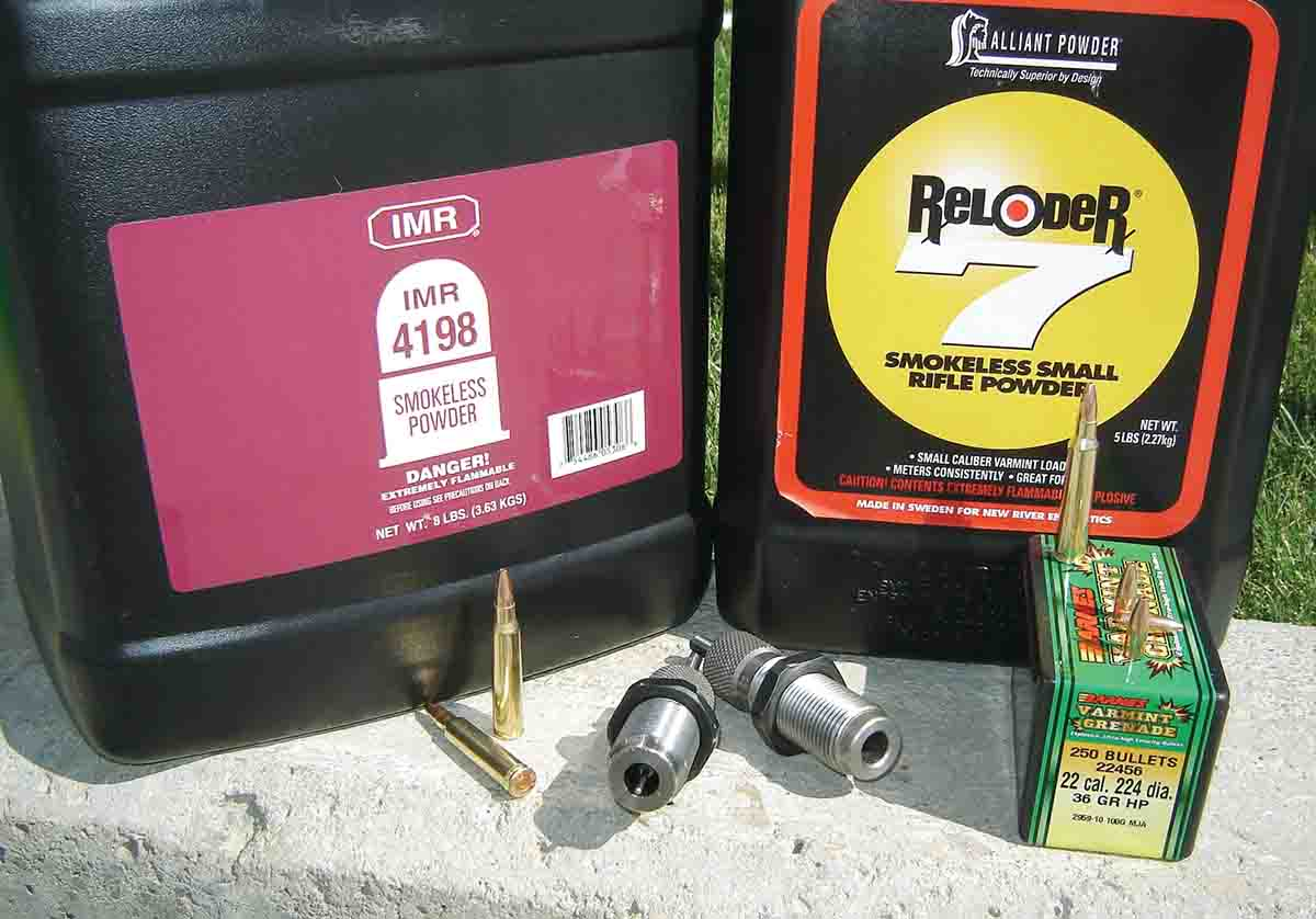 Powders used for the .223 Remington handloads included IMR-4198 and Reloder 7.
