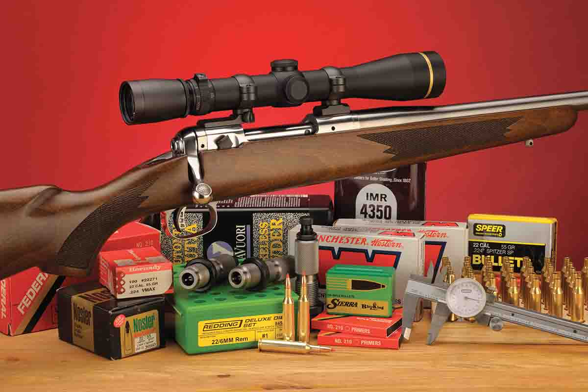 A full complement of components was used to handload .22/6mm Texas Trophy Hunter ammunition. The rifle is a custom job from E.R. Shaw.