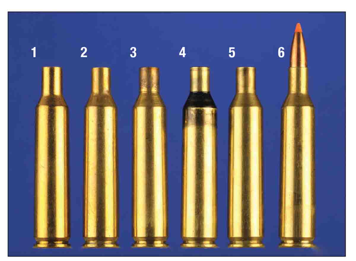 Forming brass for the .224 Texas Trophy Hunter, left to right: 1) 6mm Remington case, 2) necked down to .224 inch, 3) fireformed case, 4) neck sized only, 5) cleaned for loading, 6) loaded cartridge.