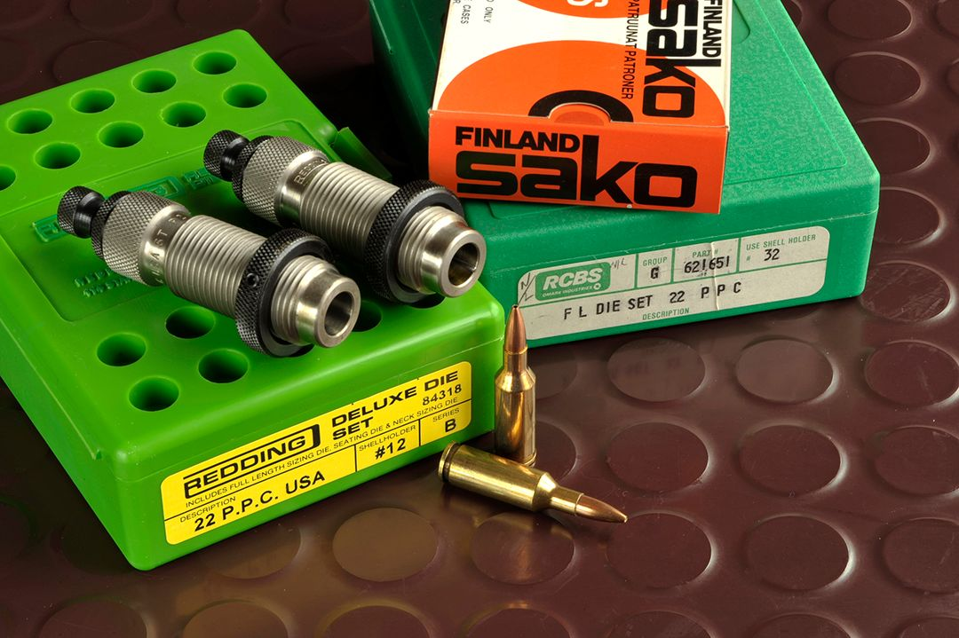 Although you may have a hard time finding a rifle in the .22 PPC, components are out there, albeit on special order. Dies from Redding and RCBS are custom made, but still available.