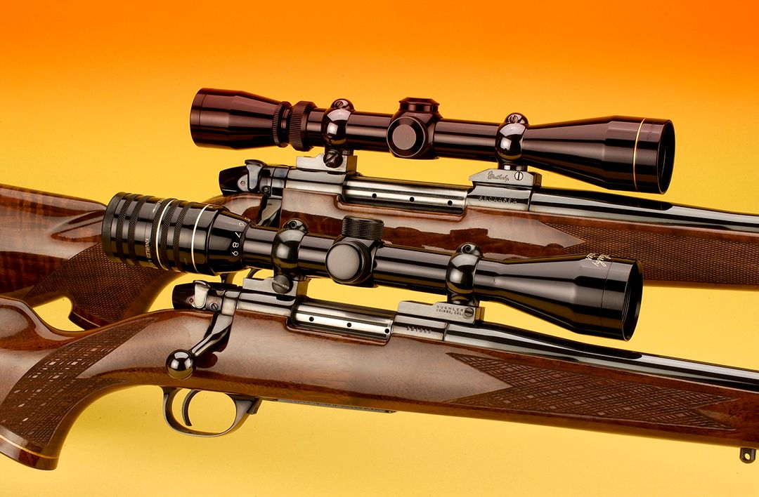 When it came to the Weatherby VarmintMaster in .224 WM, the family appearance is shown here with the .224 out front with its sister the larger Mark V in the background.