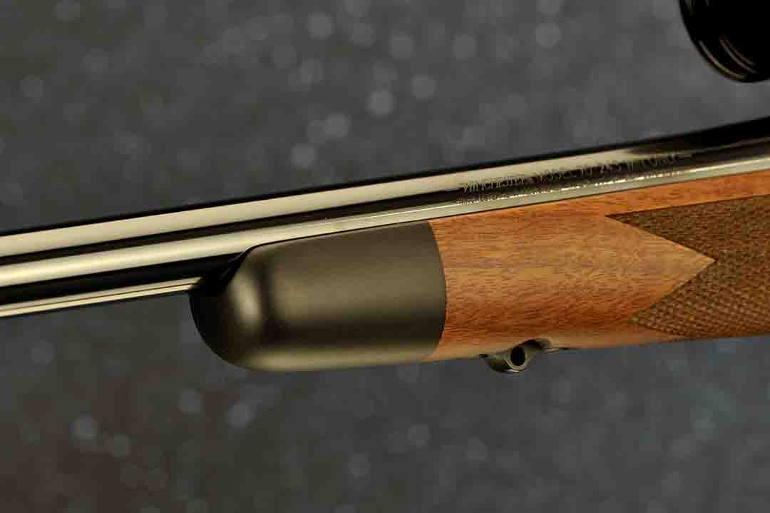 Like all custom rifles, a black forend tip cut at 90 degrees adds much class to this rifle.