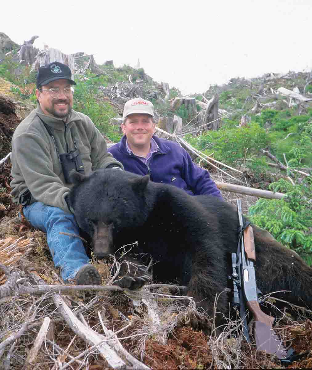 Few hunters refer to slug guns as big-bore rifles, but they are. John took this Vancouver Island black bear with a Federal slug from his old 870 Remington, with a bore diameter of over .70 caliber.