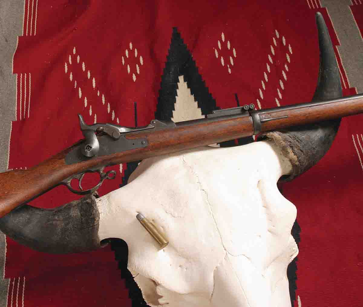 "The .45-70 probably took more bison than any other cartridge, because rifles and ammunition were widely available, and it worked, despite ballistics that would disqualify it as a ""true"" big bore among many twenty-first-century hunters."