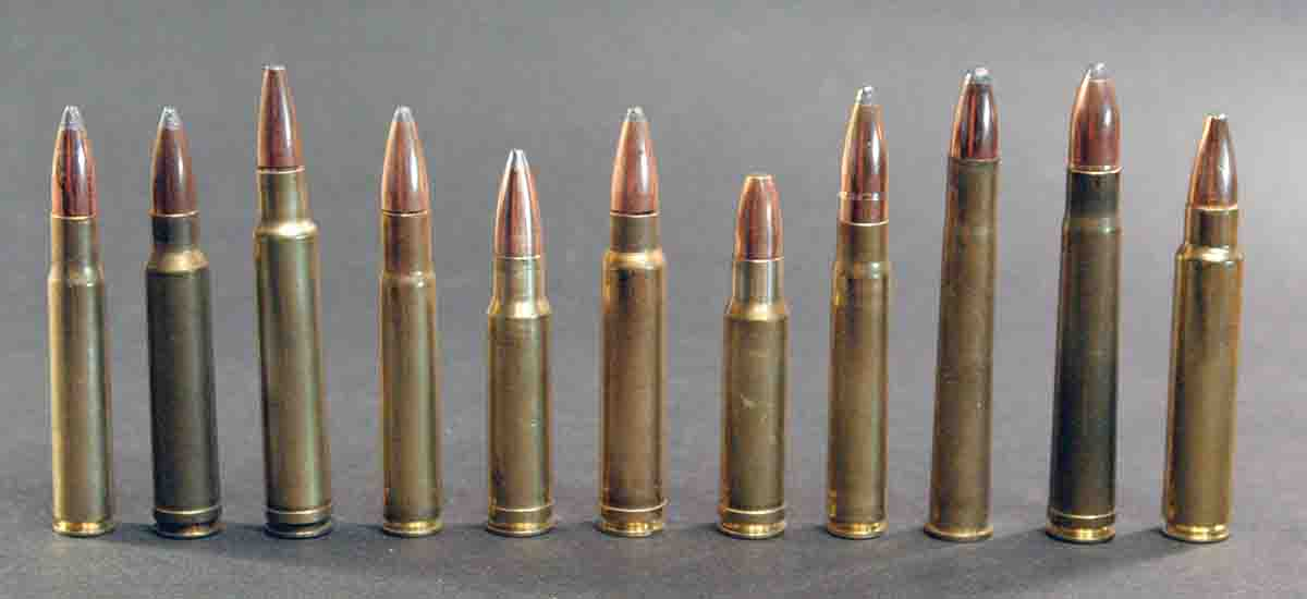 By one definition these .33- to .375-caliber cartridges are medium bores, but in North America most would be considered big bores (left to right): .338-06, .338 Winchester Magnum, .340 Weatherby Magnum, .35 Whelen, .350 Remington Magnum, .358 Norma Magnum, 9.3 Barsness-Sisk, 9.3x62 Mauser, 9.3x74R, .375 H&H Magnum and .375 Ruger.
