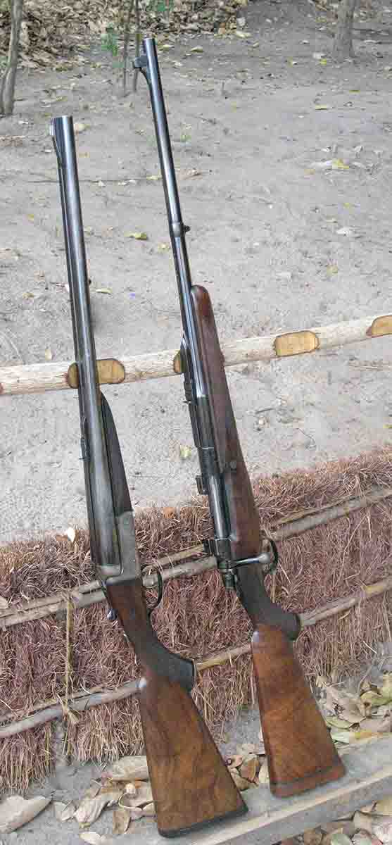 African PH Luke Samaras owns several big-bore doubles but carries his genuine Rigby bolt-action .416 Rigby (right) more often when backing up hunters.