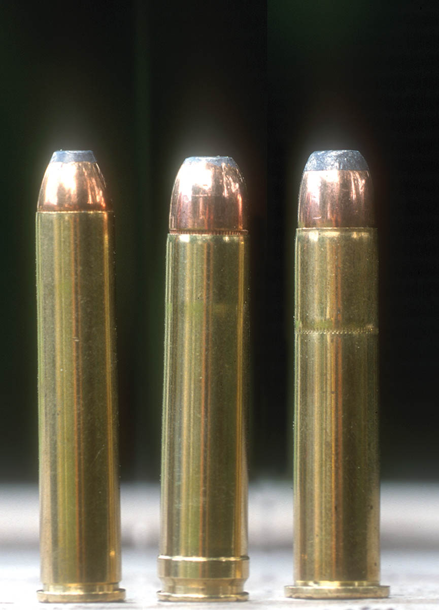 These big-bore levergun loads are (left to right): .444 Marlin (Hornady 265 grain), .450 Marlin (Hornady 350 grain) and .45-70 (Remington 405 grain).