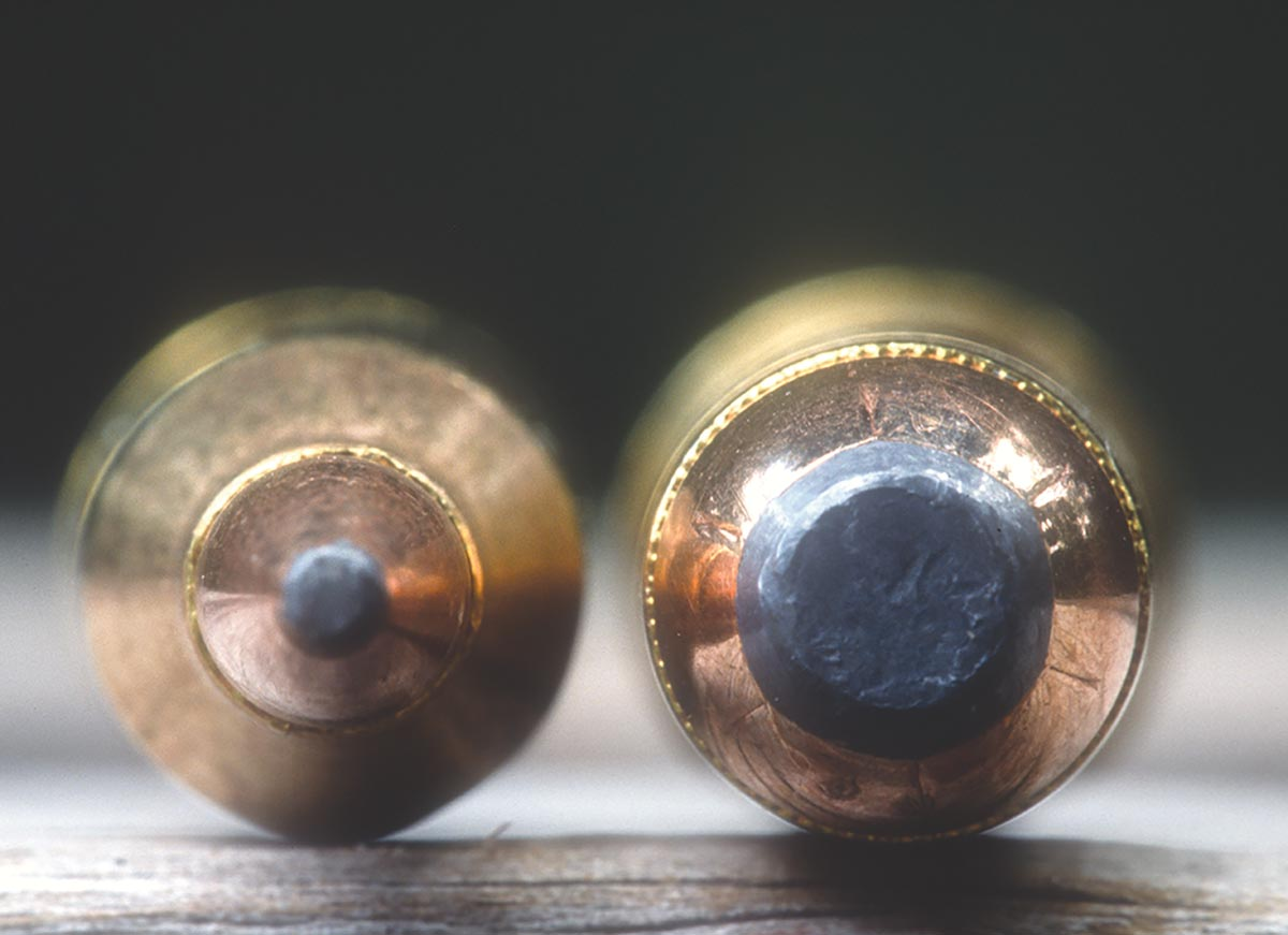 This close-up compares bullet diameter of the .243 Winchester on left (Remington 100 grain) to the .444 Marlin  on right (Hornady 265 grain).