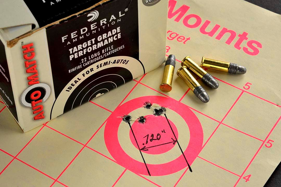 At 25 yards and with Federal's Target Grade ammunition, the best group the Ruger Long Range rifle produced was this .720 inch, 5-shot group.